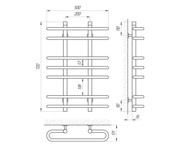 Схема Водяной полотенцесушитель Laris Сахара 500x700 П7