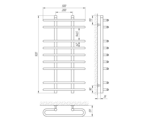 Схема Водяной полотенцесушитель Laris Сахара 500x900