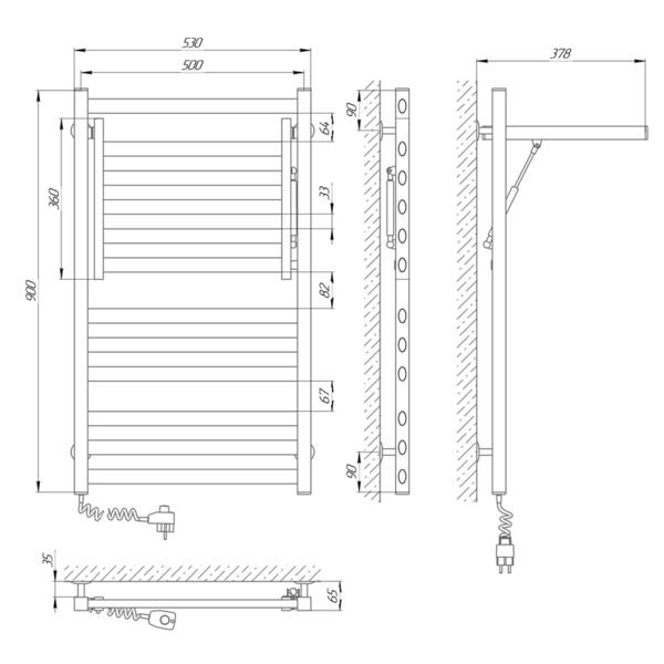 Схема Электрический полотенцесушитель Laris Сириус 500х900 Э П12 (подключение слева)