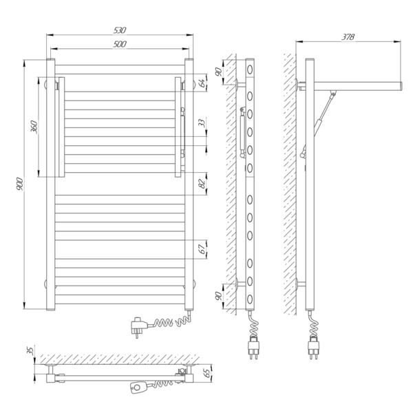Схема Электрический полотенцесушитель Laris Сириус 500х900 Э П12 (подключение справа)