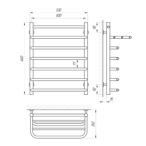Схема Водяной полотенцесушитель Laris Стандарт 500x660 П7 с полкой