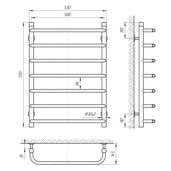 Схема Водяной полотенцесушитель Laris Стандарт 500x700 П7