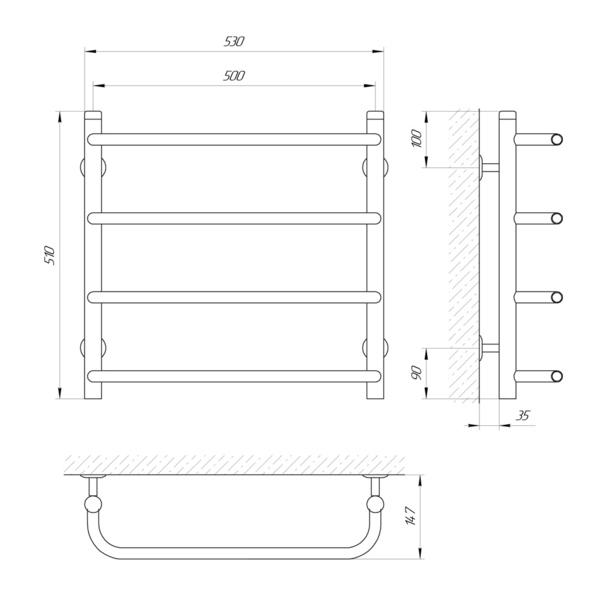 Схема Водяной полотенцесушитель Laris Стандарт 500x500 П4