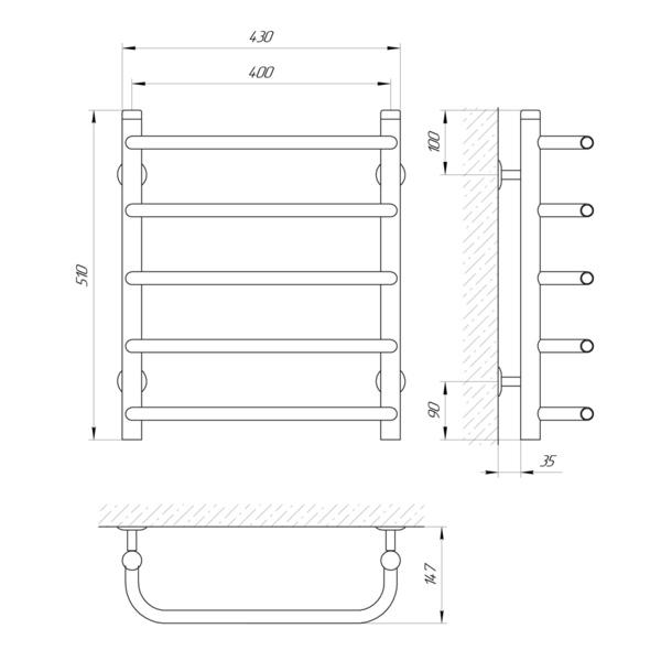 Схема Водяной полотенцесушитель Laris Стандарт 400x500 П5