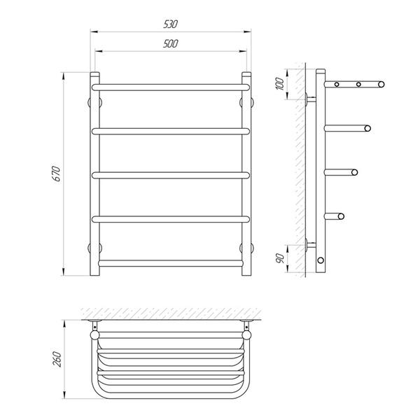 Схема Водяной полотенцесушитель Laris Стандарт 500x660 П5 с полкой