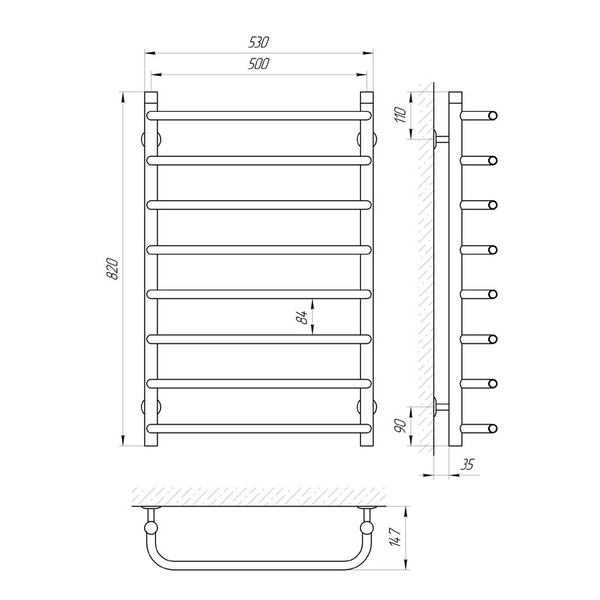 Схема Водяной полотенцесушитель Laris Стандарт 500x800 П8