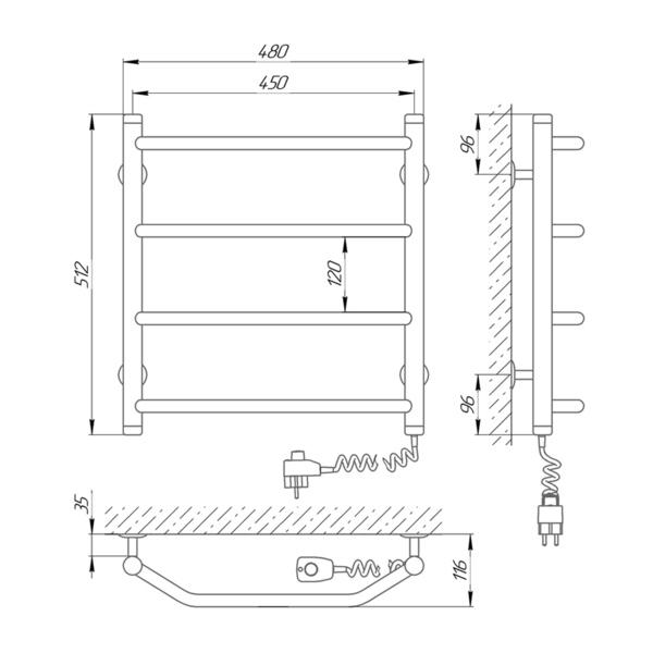 Схема Электрический полотенцесушитель Laris Виктория 450х500 Э П4 (подключение справа)