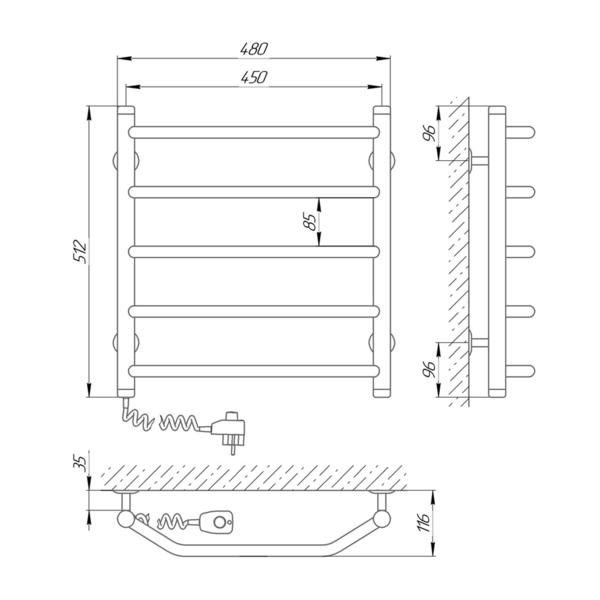 Схема Электрический полотенцесушитель Laris Виктория 450х500 Э П5 (подключение слева)