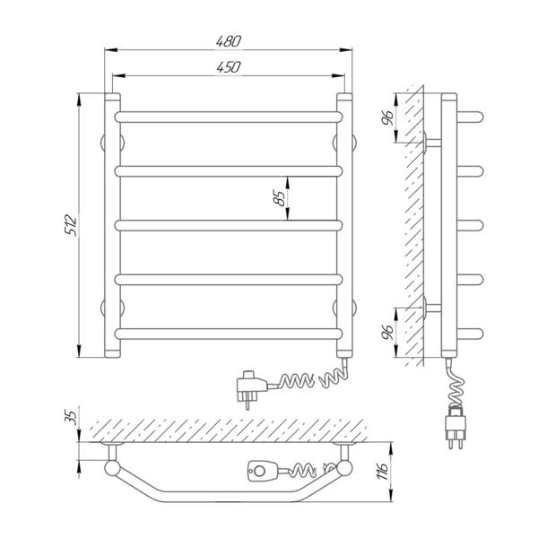Схема Электрический полотенцесушитель Laris Виктория 450х500 Э П5 (подключение справа)