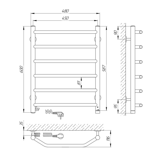 Схема Электрический полотенцесушитель Laris Виктория 450х600 Э П6