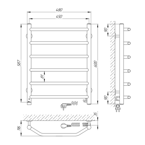 Схема Электрический полотенцесушитель Laris Виктория 450х600 Э П6 (подключение справа)