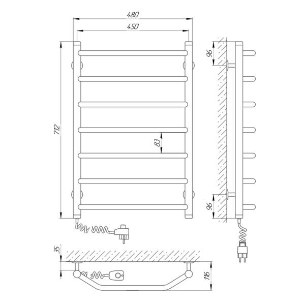 Схема Электрический полотенцесушитель Laris Виктория 450х700 Э П7 (подключение слева)