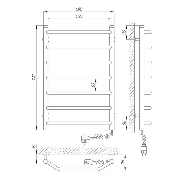 Схема Электрический полотенцесушитель Laris Виктория 450х700 Э П7 (подключение справа)