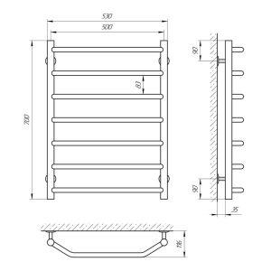 Схема Водяной полотенцесушитель Laris Виктория 500x700 П7