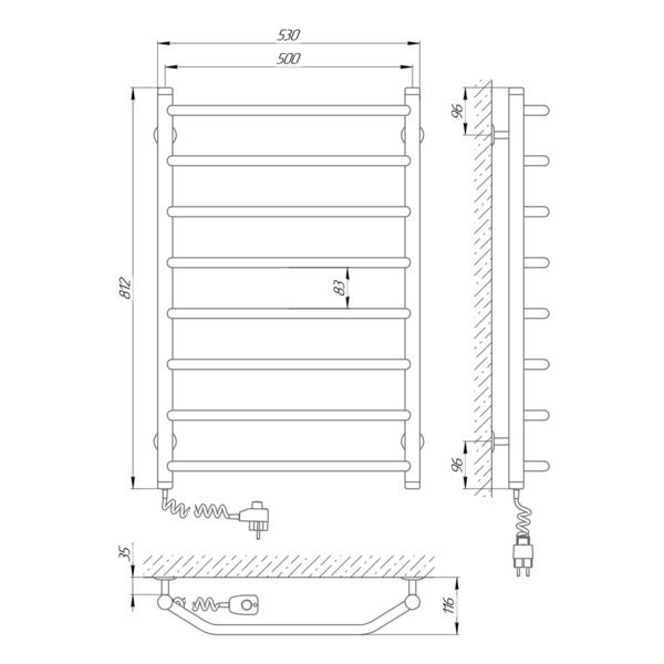 Схема Электрический полотенцесушитель Laris Виктория 500х800 Э П8 (подключение слева)