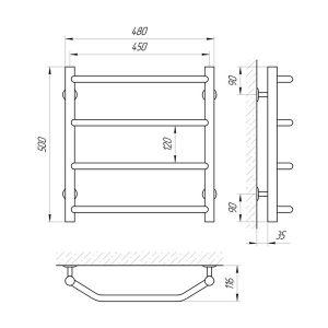 Схема Teplostore Водяной полотенцесушитель Laris Виктория 450x500 П4