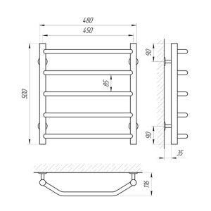 Схема Водяной полотенцесушитель Laris Виктория 450x500 П5