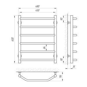 Схема Водяной полотенцесушитель Laris Виктория 450x600 П6