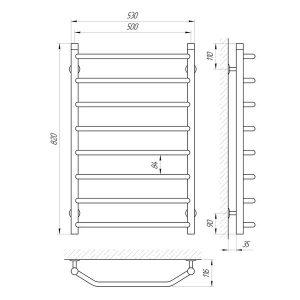 Схема Водяной полотенцесушитель Laris Виктория 500x800 П8