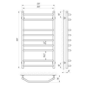 Схема Teplostore Водяной полотенцесушитель Laris Виктория 500x900 П9