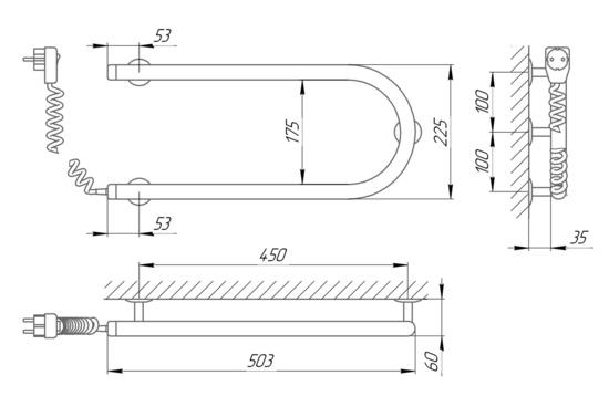 Схема Электрический полотенцесушитель Laris Змеевик 25 РС1 500х200 Э (подключение слева)
