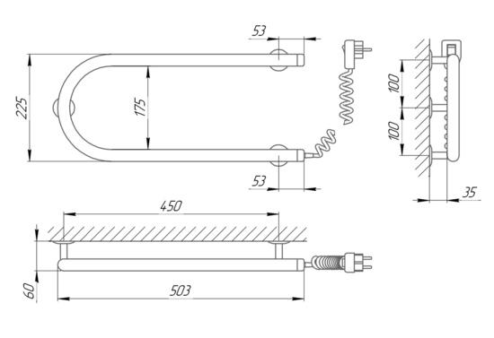 Схема Электрический полотенцесушитель Laris Змеевик 25 РС1 500х200 Э (подключение справа)