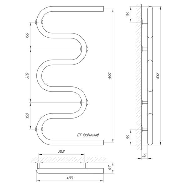 """Схема Водяной полотенцесушитель Laris Змеевик 32 РС5 400х800 1"""""""