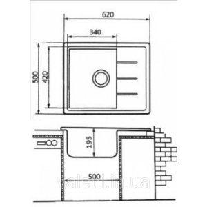 Схема Гранитная мойка Valetti №28 620х500