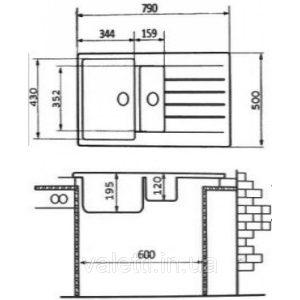 Схема Гранитная мойка Valetti №29 790х500 STD