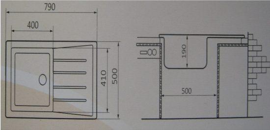 Гранитная мойка Valetti №25 790х500 схема