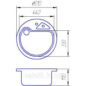 Гранитная мойка Valetti №8 510 схема