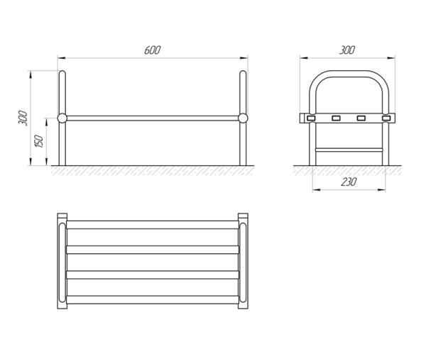 Схема Сушка для обуви Laris Кватро М4 300х600 матовая