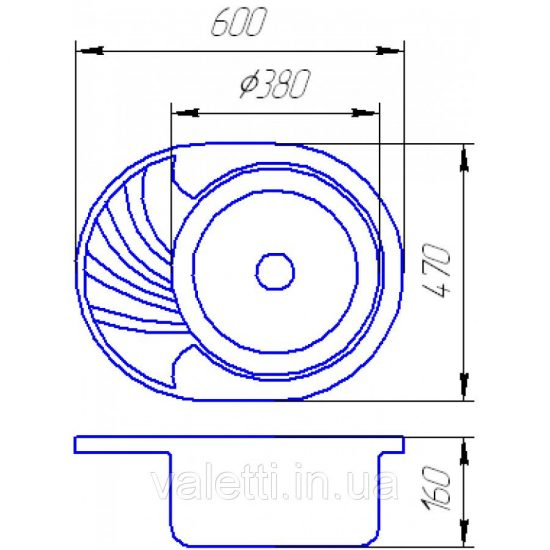 Схема Гранитная мойка Valetti №13 600x470