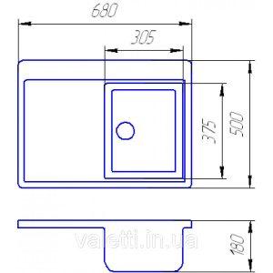 Схема Гранитная мойка Valetti №16 680х500