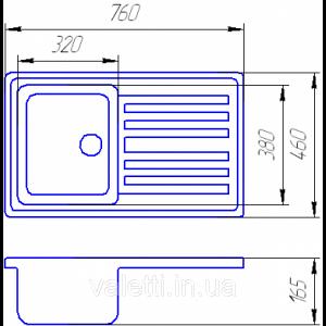 Схема Гранитная мойка Valetti №17 760х460 STD