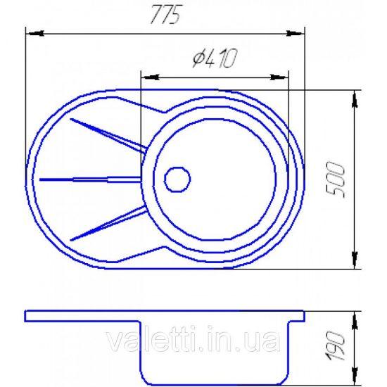 Схема Гранитная мойка Valetti №18 775х500