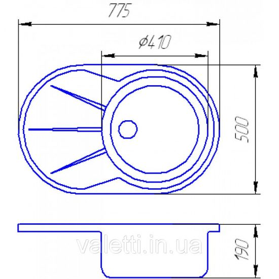 Схема Гранитная мойка Valetti №18 775x500 S-V-LUX