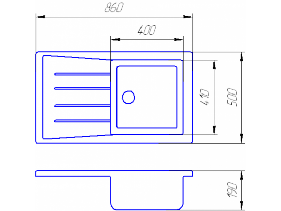 Схема Гранитная мойка Valetti №19 860х500