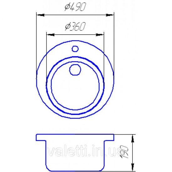 Схема Гранитная мойка Valetti №2 490