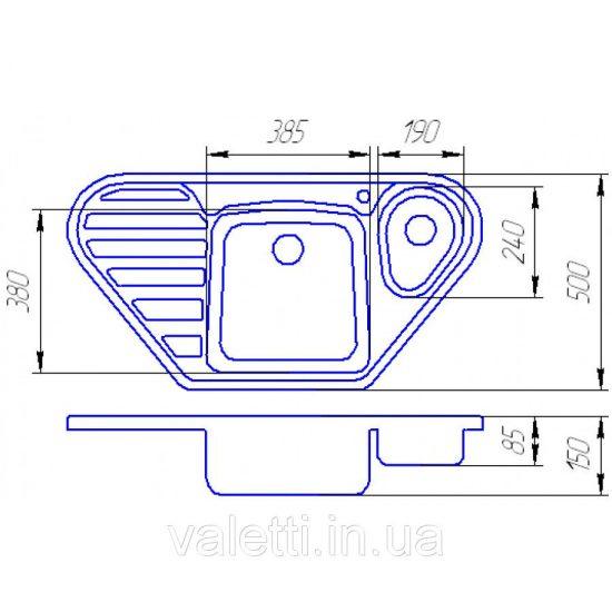 Схема Гранитная мойка Valetti №20 960x500