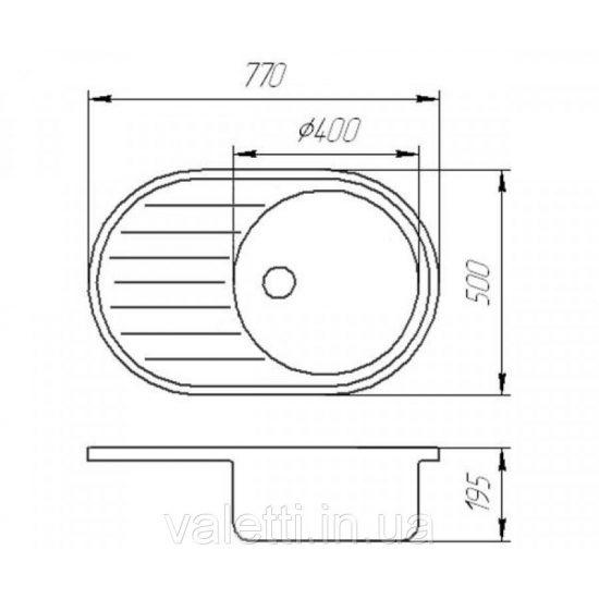 Схема Гранитная мойка Valetti №27 770x500 STD