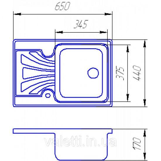 Схема Гранитная мойка Valetti №41 650х440 BUDGET