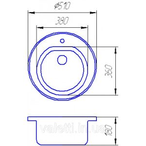 Схема Гранитная мойка Valetti №5 510 S-V-LUX