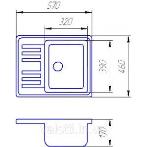 Схема Гранитная мойка Valetti №9 570х460 S-V-LUX