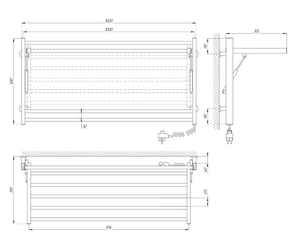 Схема Электрический полотенцесушитель Laris Зебра Астор ЧК8 1000х500 Э (подключение справа)