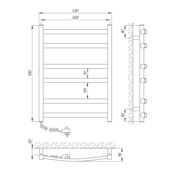 Схема Электрический полотенцесушитель Laris Зебра Атлант ЧК6 500х700 Э (подключение слева)