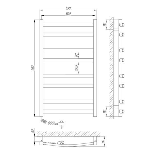 Схема Электрический полотенцесушитель Laris Зебра Атлант ЧК8 500х900 Э (подключение слева)
