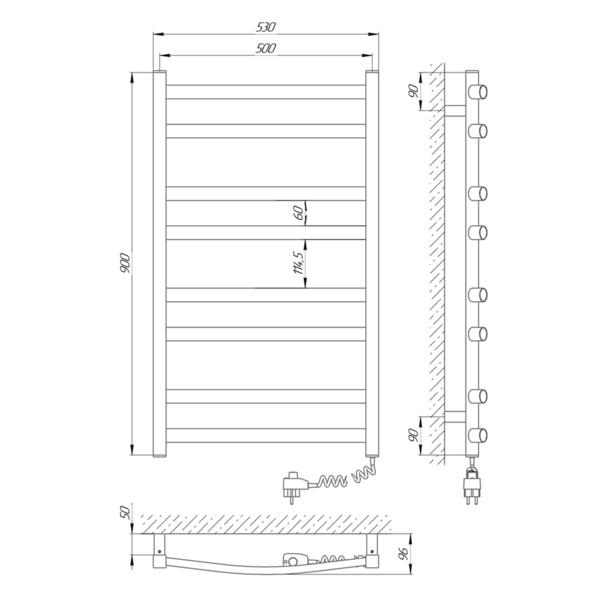 Схема Электрический полотенцесушитель Laris Зебра Атлант ЧК8 500х900 Э (подключение справа)