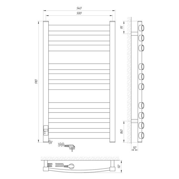 Схема Электрический полотенцесушитель Laris Зебра Атлант Премиум ЧК10 500х900 Э (подключение слева)