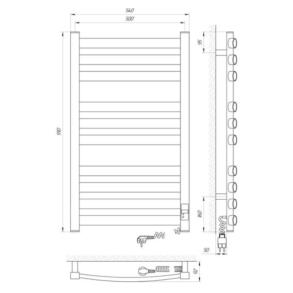 Схема Электрический полотенцесушитель Laris Зебра Атлант Премиум ЧК10 500х900 Э (подключение справа)